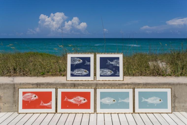 coastal decor fish prints